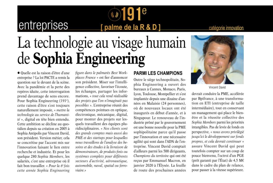 Palme de la R&D pour Sophia Engineering